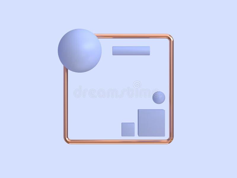 De minimale abstracte purper-violette geometrische vorm van het achtergrondkoperkader royalty-vrije illustratie