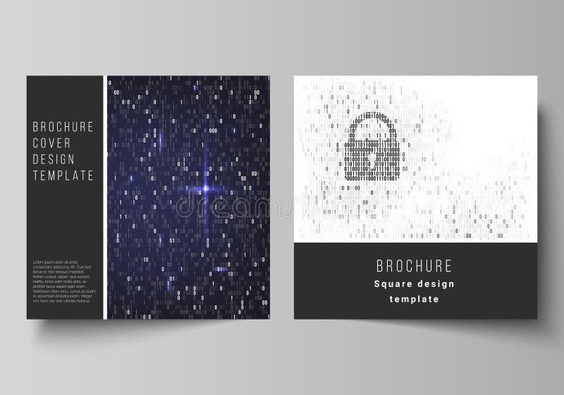 De minimale vectorlay-out van vierkant formaat twee behandelt ontwerpmalplaatjes voor brochure, vlieger, tijdschrift Binaire code vector illustratie
