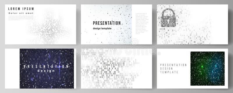 De minimalistic abstracte vectorlay-out van de presentatie glijdt ontwerp bedrijfsmalplaatjes Binaire codeachtergrond ai royalty-vrije illustratie