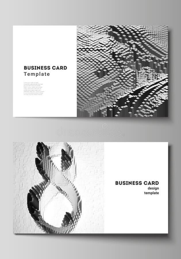 De minimalistic abstracte vectorlay-out van twee creatieve adreskaartjes ontwerpt malplaatjes Grote Gegevens Dynamische geometris vector illustratie