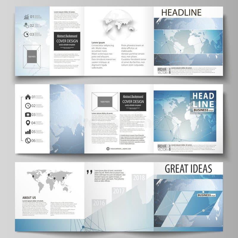 De minimalistic vectorillustratie van de editable lay-out Drie creatieve malplaatjes van het dekkingsontwerp voor vierkante broch royalty-vrije illustratie