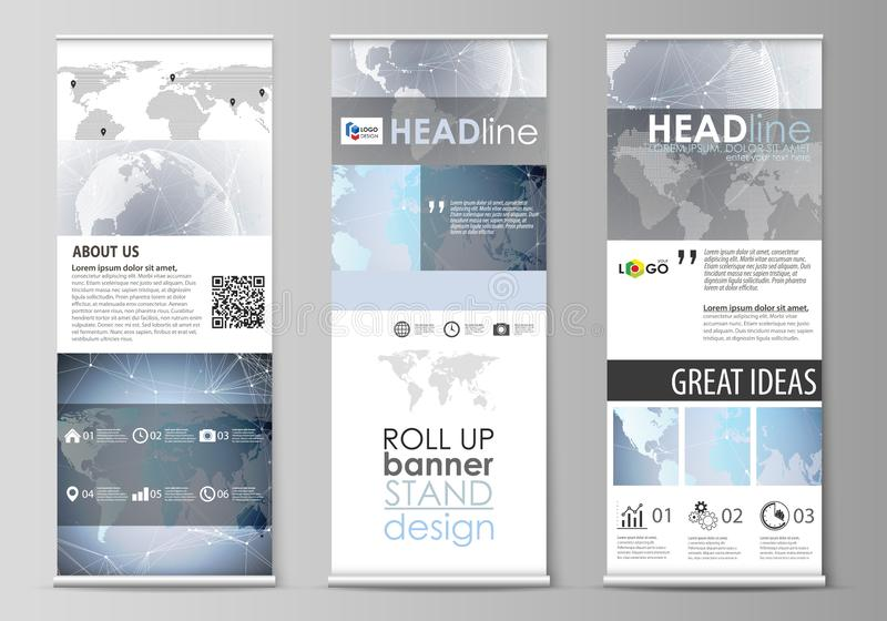 De minimalistic vectorillustratie van de editable lay-out van broodje op banner bevindt zich, verticale vliegers, vlaggenontwerp vector illustratie