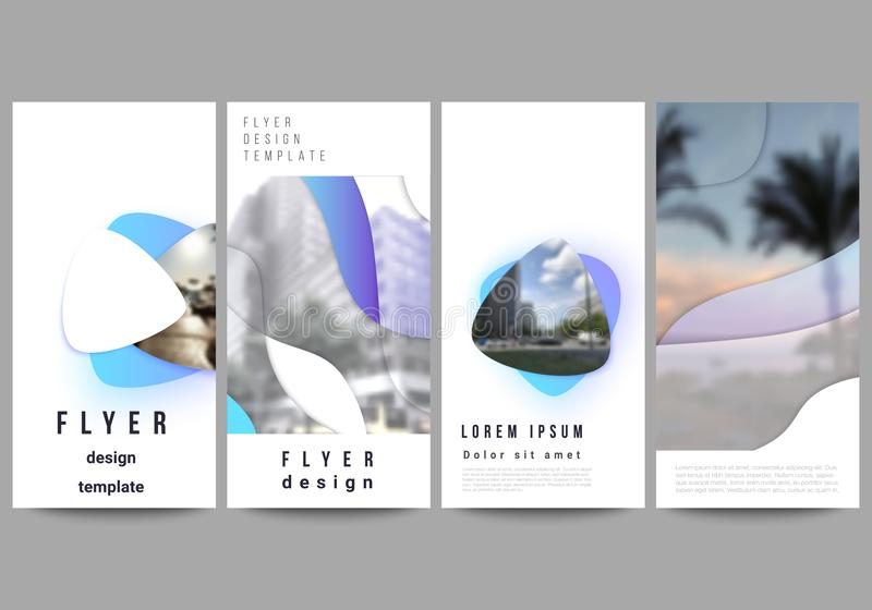 De minimalistic vectorillustratie van de editable lay-out van vlieger, de malplaatjes van het bannerontwerp Blauwe kleurengradi?n vector illustratie