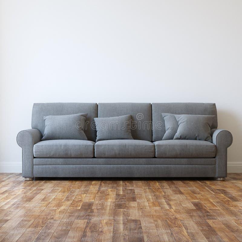 De Minimalistische Binnenlandse Zaal van Grey Textile Classic Sofa In stock afbeeldingen