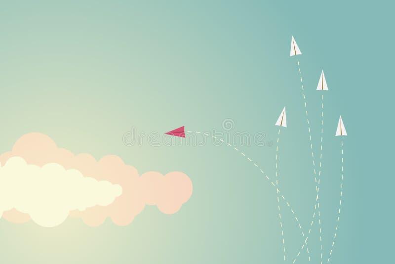 De minimalistische veranderende richting en degenen van het stijl rode vliegtuig Nieuw idee, verandering, tendens, moed, creatiev vector illustratie