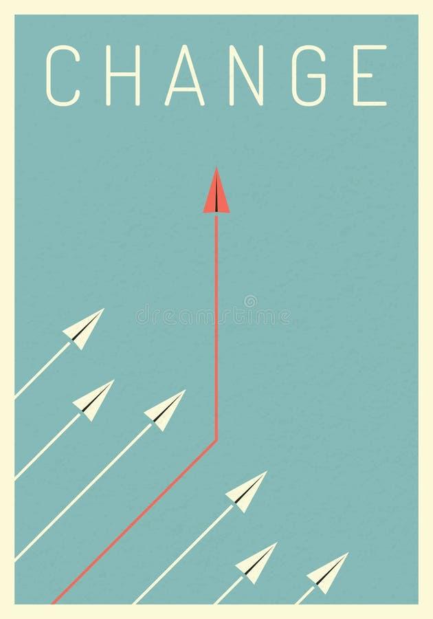De minimalistische veranderende richting van het stijl rode vliegtuig en witte degenen Nieuw idee, verandering, tendens, moed, cr royalty-vrije illustratie