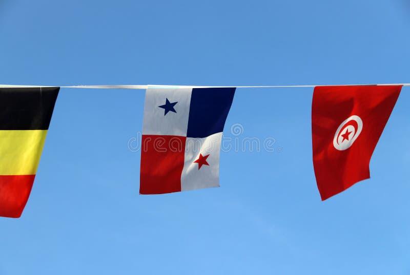 De minivlag van het stoffenspoor van Panama, het is een tricolor van blauwe rood en wit met ster, die op de kabeldoek hangen tuss royalty-vrije stock afbeelding