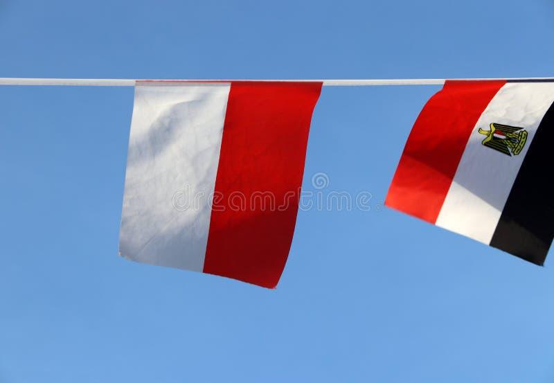 De minivlag van het stoffenspoor van Polen bestaat uit twee horizontale strepen van gelijke breedte, hogere wit en lagere rood  royalty-vrije stock foto's