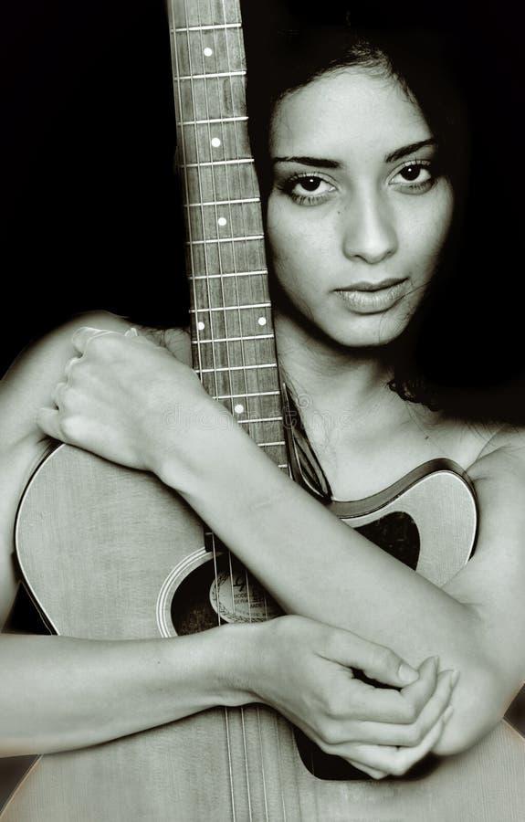De Minnaar van de gitaar stock fotografie