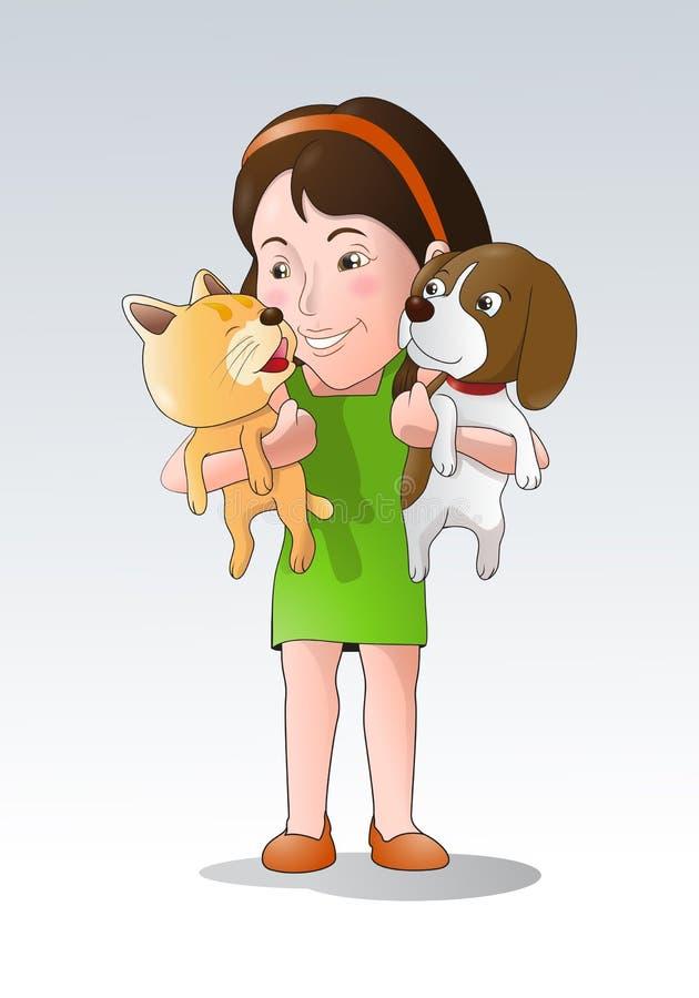 De minnaar van huisdieren royalty-vrije illustratie