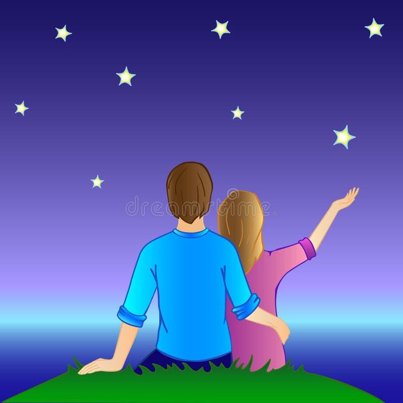 De minnaars bekijken de sterren Een man en een vrouw koesteren royalty-vrije illustratie