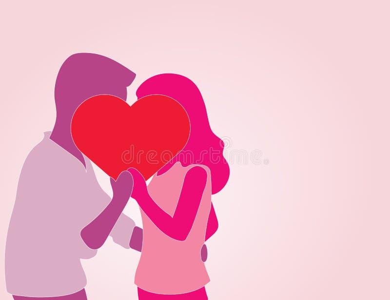 De Minnaars die van het silhouetpaar achter hartteken kussen, Vectorillustratie vector illustratie