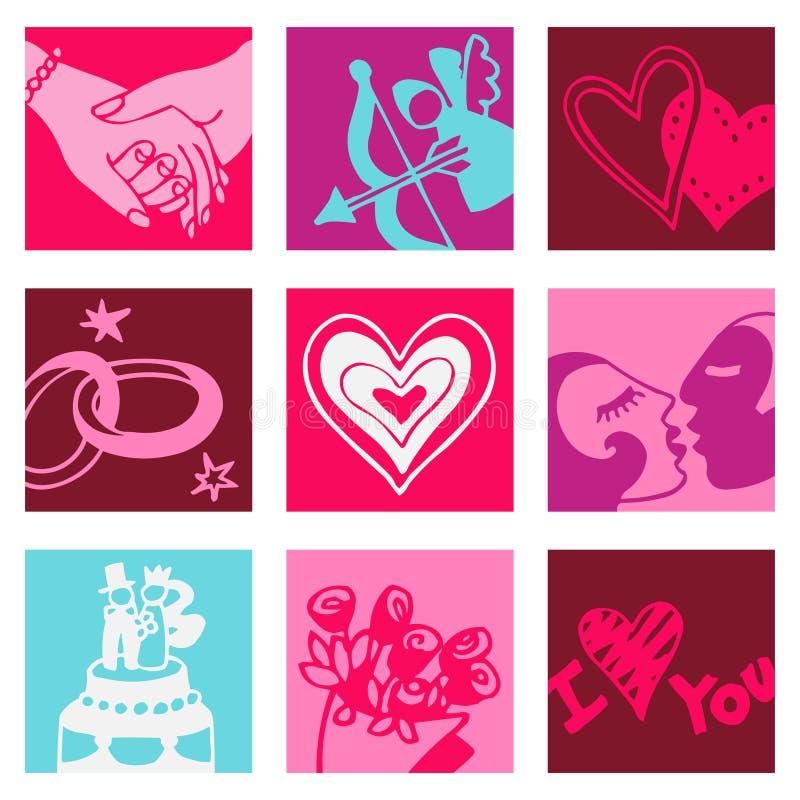 De minnaars kleuren pictogrammen royalty-vrije illustratie