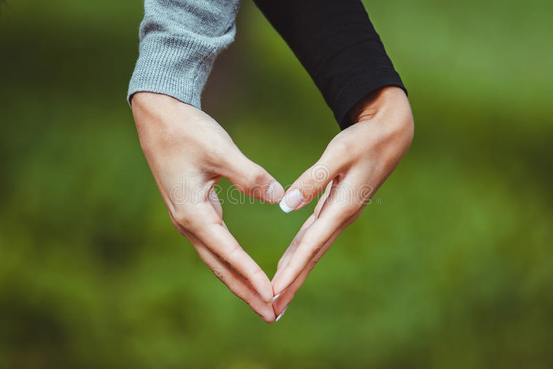 De minnaars koppelen het maken van een hart aan handen stock afbeelding