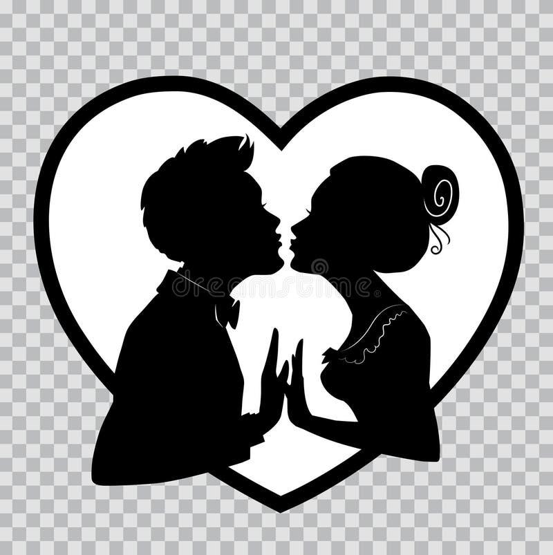 De minnaars kussen op achtergrond van groot hart Silhouetten op transparante achtergrond voor Valentijnskaartendag stock illustratie