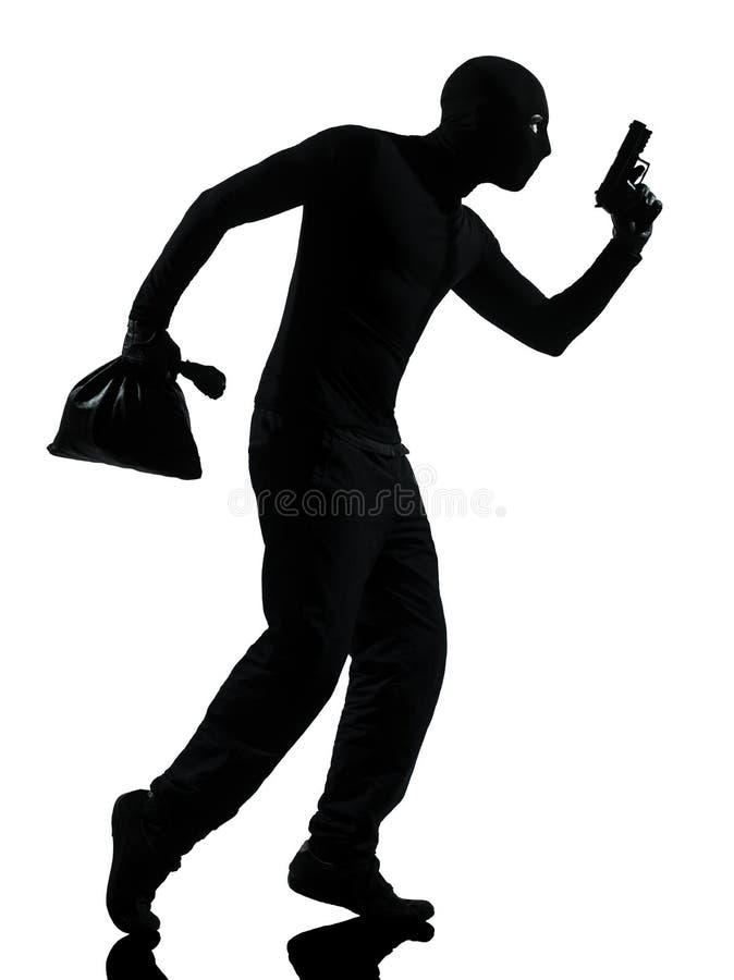 De misdadige terrorist die van de dief de kanonmens streeft royalty-vrije stock fotografie