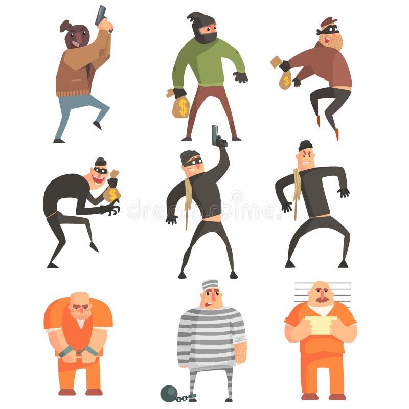 De misdadigers en veroordeelt Grappige Set van tekens royalty-vrije illustratie