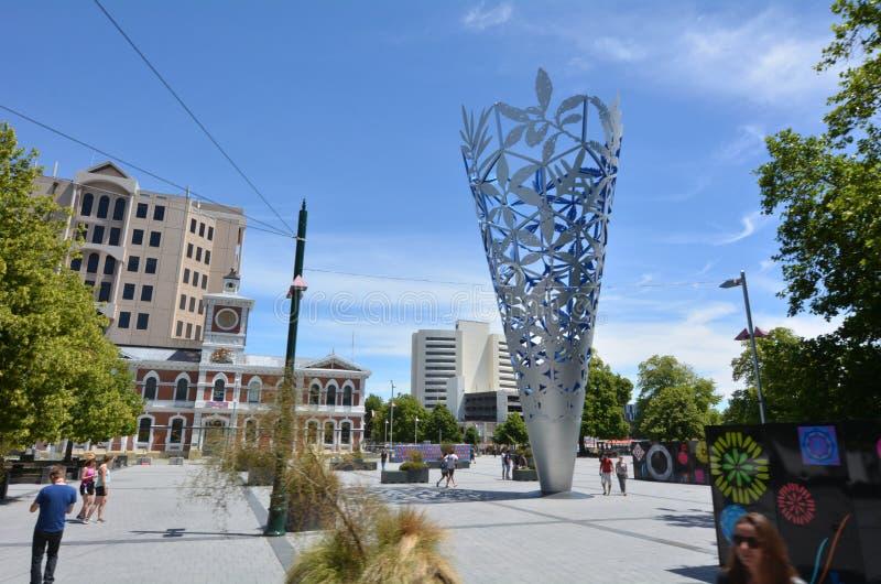 De Miskelk in Kathedraal vierkante Christchurch - Nieuw Zeeland royalty-vrije stock afbeeldingen