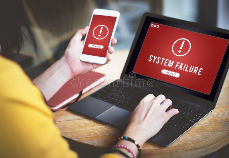 De mislukking viel Binnendrongen in een beveiligd computersysteem Virusabend Concept aan royalty-vrije stock foto's