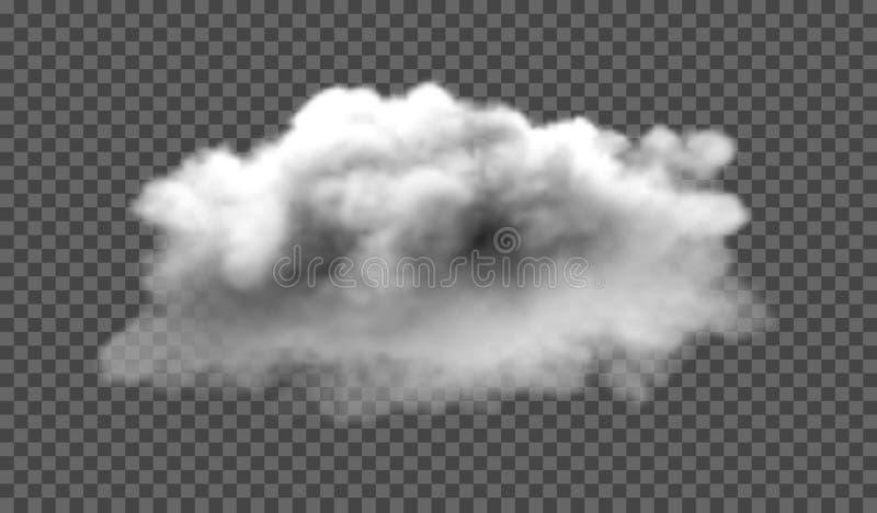 De mist of de rook isoleerde transparant speciaal effect Witte troebelheid, mist of smogachtergrond Vector illustratie royalty-vrije illustratie
