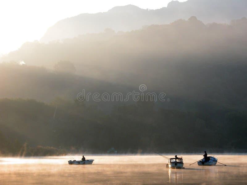 De mist van Dawn op het meer stock fotografie