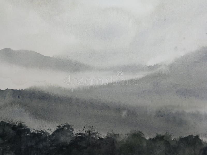 De mist van de het landschapsberg van de waterverfinkt traditionele oosterse de kunststijl van inktazië hand op papier wordt getr stock illustratie