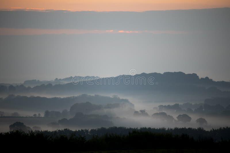 De mist van de ochtend over landbouwgrond stock foto