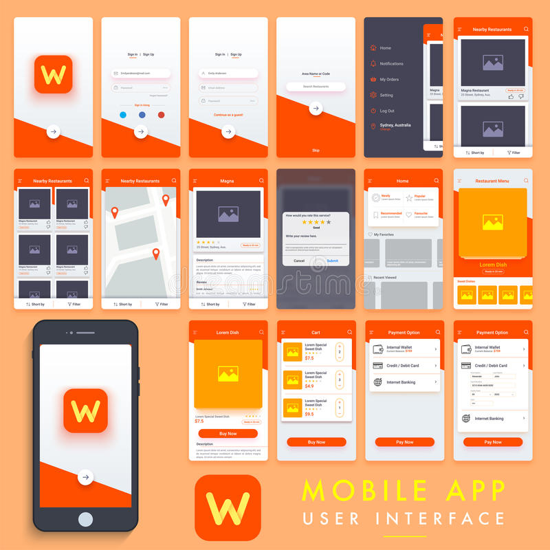 De mobiele App uitrusting van het Gebruikersinterfacemalplaatje stock illustratie