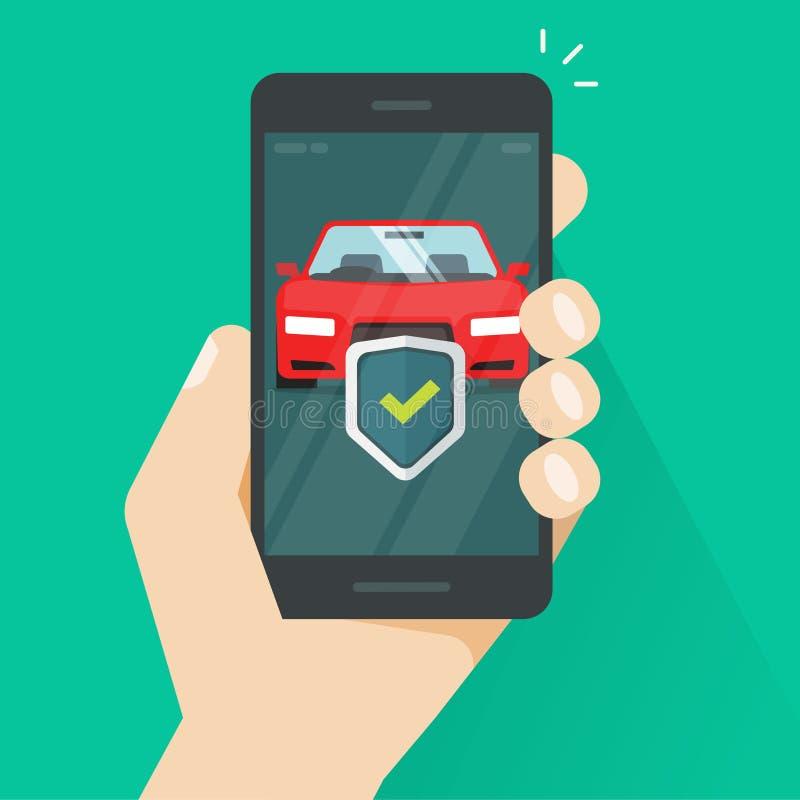 De mobiele bescherming van de telefoonauto vectorillustratie, vlakke smartphone met automobiel beschermd schild en controleteken, vector illustratie