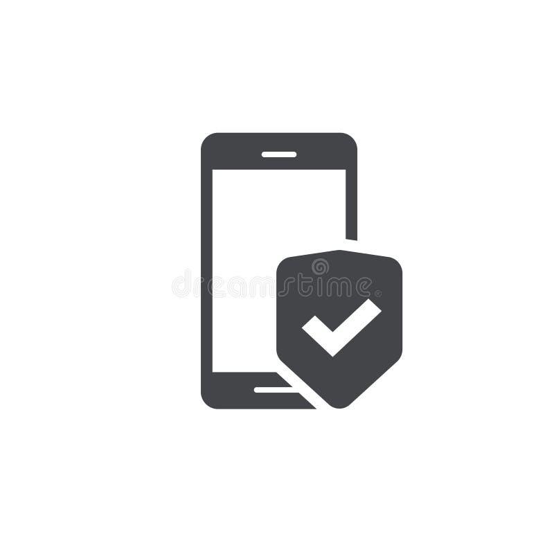 De mobiele bescherming van de telefoonveiligheid vectordiepictogram, de kunstsmartphone van het lijnoverzicht met schildteken wor stock illustratie