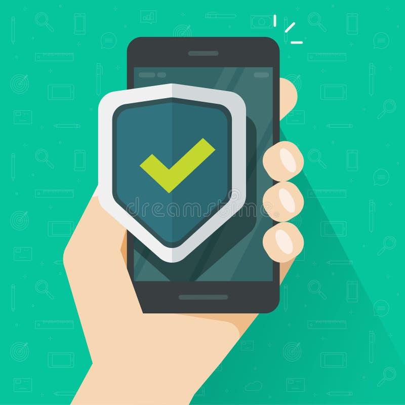 De mobiele bescherming van de telefoonveiligheid vectorillustratie, vlakke die beeldverhaalsmartphone met schildteken wordt besch royalty-vrije illustratie
