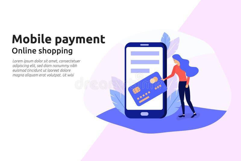 De mobiele betalings online dienst voor moderne bedrijfswebsite, socia stock illustratie