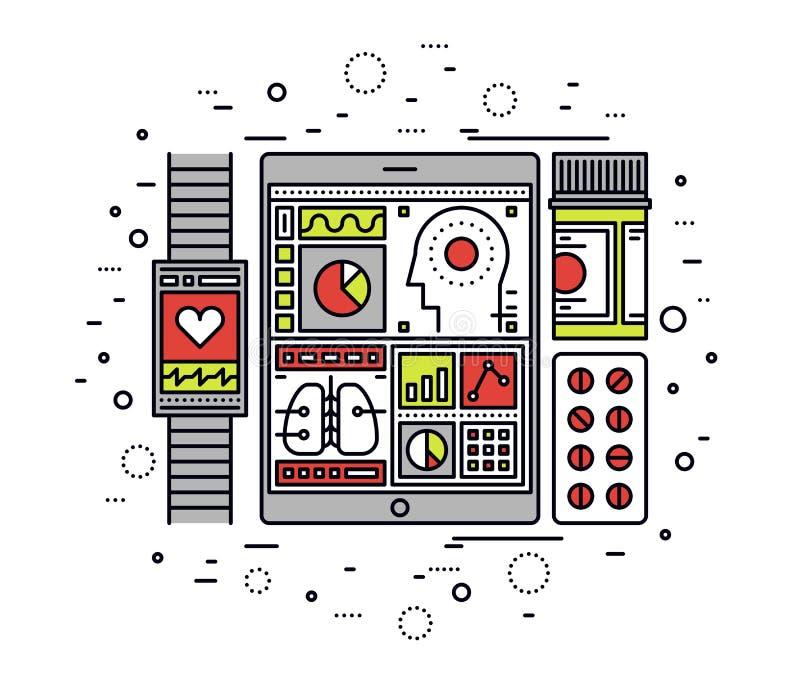 De mobiele illustratie van de de lijnstijl van de gezondheidscontrole stock illustratie