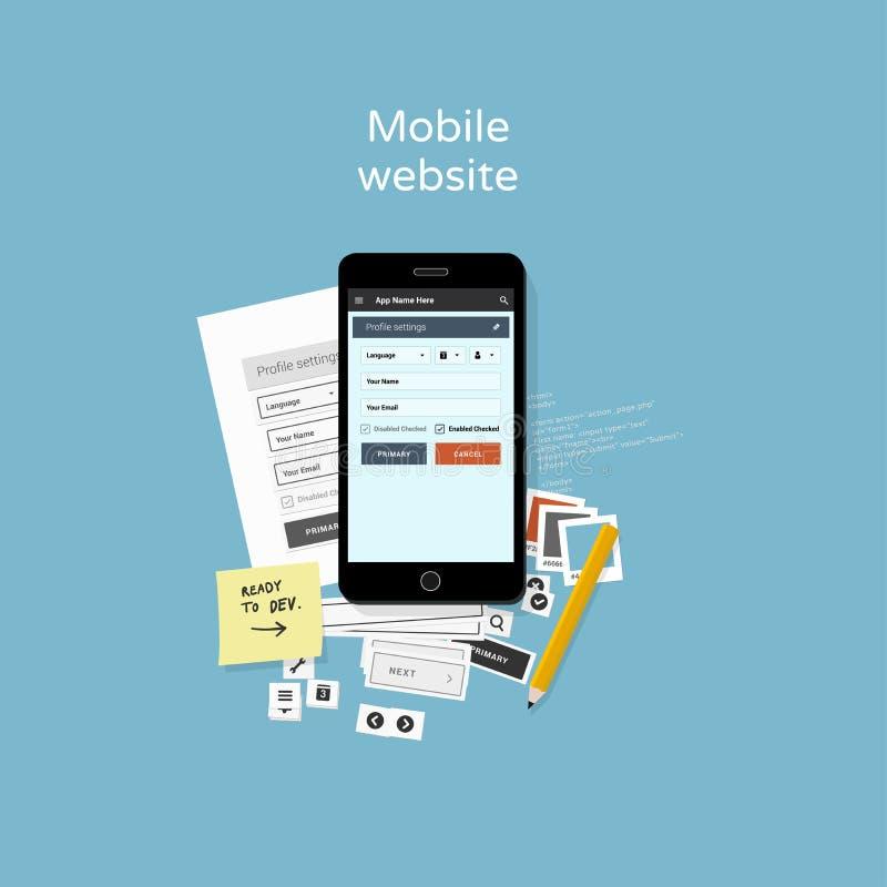 De mobiele illustratie van de websiteontwikkeling royalty-vrije illustratie