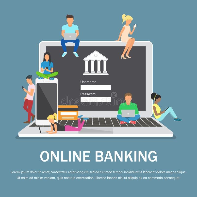 De mobiele illustratie van het bankwezenconcept van mensen die laptop en mobiele slimme telefoon voor online bankwezen met behulp vector illustratie