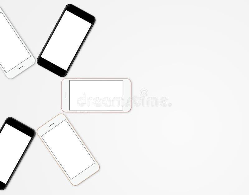 De mobiele kleur van de modeltelefoon het vastgestelde lege scherm stock foto