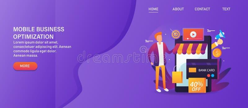 De mobiele optimalisering van de elektronische handelwebsite, online winkelend, digitale veilige betaling via creditcard, mens on royalty-vrije illustratie