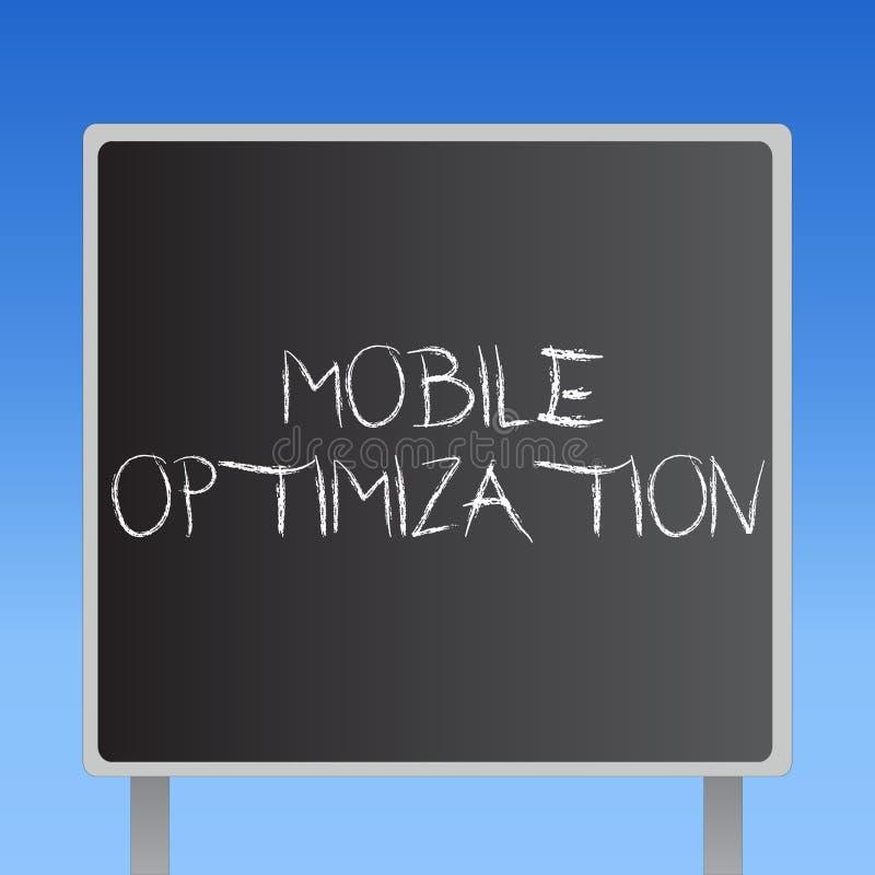 De Mobiele Optimalisering van de handschrifttekst Concept die die Plaatsinhoud betekenen voor Handbediende of Tabletapparaten opn vector illustratie