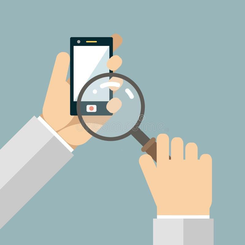 De mobiele Pictogrammen van het het Vergrootglasonderzoek van Telefoonhanden stock illustratie