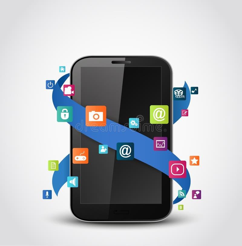 De mobiele pictogrammen van telefoontoepassingen stock illustratie