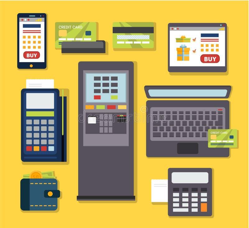 De mobiele Reeks van het Betalingspictogram royalty-vrije illustratie