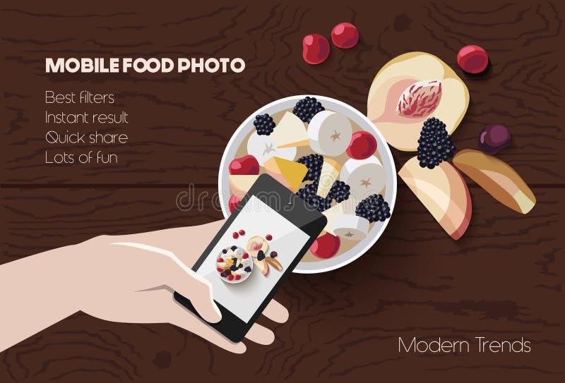 De mobiele scène van de voedselfoto vector illustratie