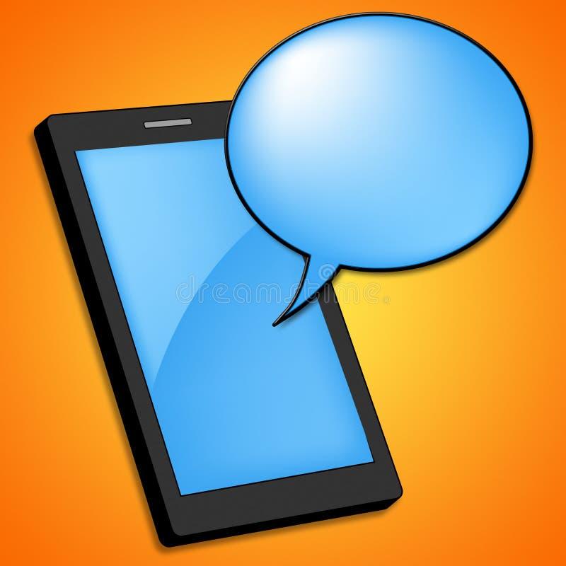 De mobiele Telefoon betekent Tekstruimte en Spatie stock illustratie