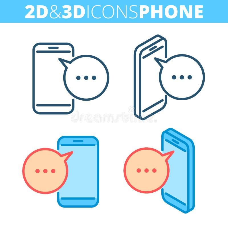 De mobiele telefoon De vlakke en isometrische 3d reeks van het overzichtspictogram vector illustratie