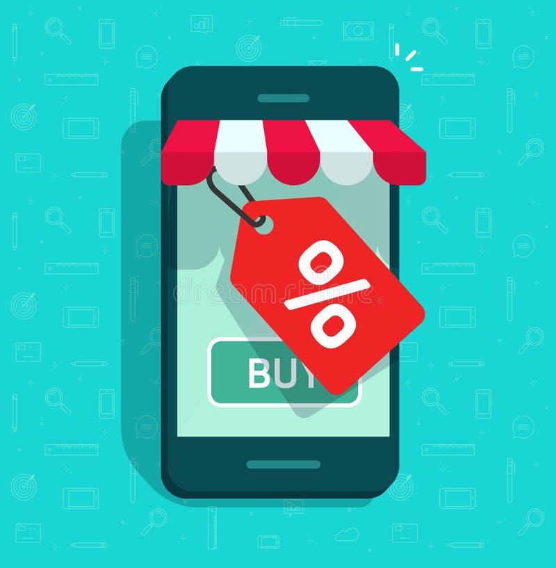 De mobiele de telefoonopslag en verkoop etiketteren vectorillustratie, de vlakke online winkel van Internet van beeldverhaalsmart royalty-vrije illustratie