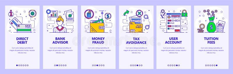 De mobiele toepassing onboarding schermen Bankwezen, geldfraude, bankadviseur en belastingontwijking Malplaatje van de menu het v royalty-vrije illustratie