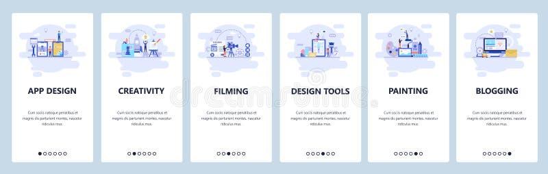 De mobiele toepassing onboarding schermen Creativiteit, film, ontwerphulpmiddelen, het schilderen, het blogging Malplaatje van de vector illustratie