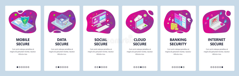 De mobiele toepassing onboarding schermen De Cyberveiligheid, mobiele gegevens beveiligt toegang, wolk en bankwezenveiligheid Men stock illustratie