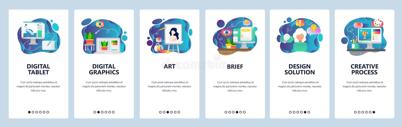 De mobiele toepassing onboarding schermen Digitale illustratie, art. creatief en ontwerp Malplaatje van de menu het vectorbanner  stock illustratie