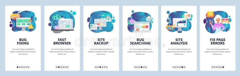 De mobiele toepassing onboarding schermen En computerinsect die, websiteanalyse, reserve bevestigen testen Malplaatje van de menu stock illustratie